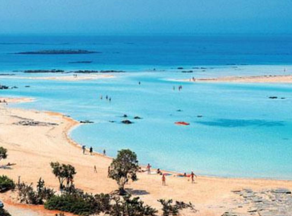 Naaktstrand, Elafonisi beach, kreta, griekenland blootgewoon