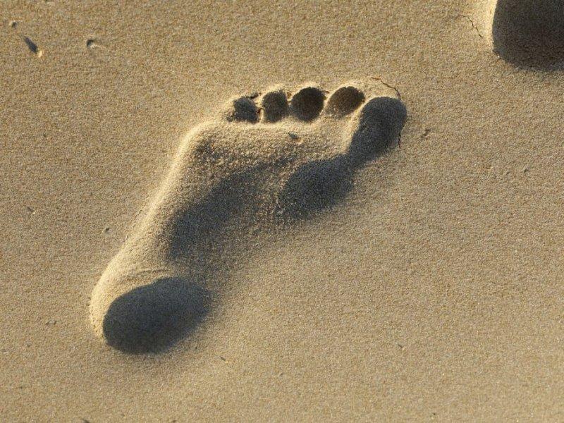 Human footprint of on a Spanish beach