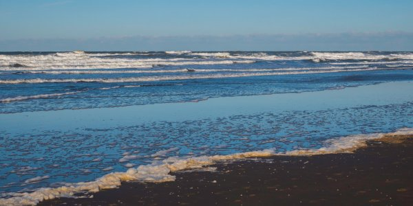 foam and waves form the north sea at the beach of hoek van holland in the netherlands